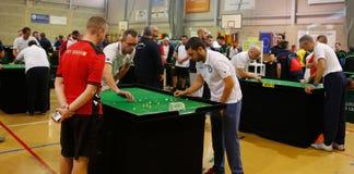 De spelers tijdens het spel van het de wereldkampioenschap van het Lijstvoetbal detailleren stock afbeeldingen