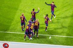 De spelers van Barcelona na doel bij Camp Nou -stadion royalty-vrije stock afbeelding