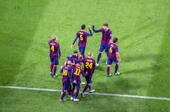 De spelers van Barcelona na doel bij Camp Nou -stadion royalty-vrije stock foto