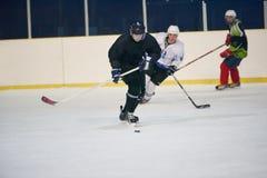 De spelers van de ijshockeysport Stock Foto