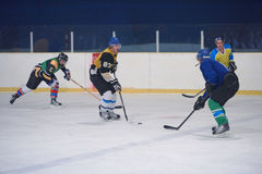 De spelers van de ijshockeysport stock foto's