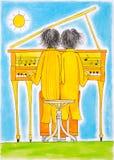 De spelers van de piano, Tweeling, de tekening van het kind, waterverf het schilderen Royalty-vrije Stock Afbeelding