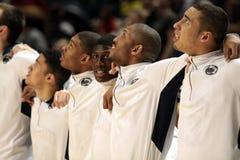 De spelers van de Staat van Penn vieren Hogere Nacht stock foto's