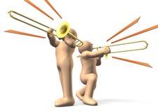 De spelers van de trombone Stock Foto