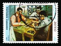 De spelers van domino's, Schilderijen van Cubaanse Schilder Jorge Arche stock foto's