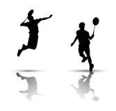 De spelers van het badminton silhouetteren stock illustratie