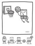 De spelers van het de mensenbasketbal van de rechthoek stock foto