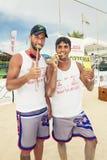 De spelers van het het strandvolleyball van mensen Italiaans nationaal kampioenschap stock foto