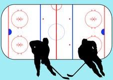 De spelers van het hockey en speelplaatsillustratie Royalty-vrije Stock Foto's