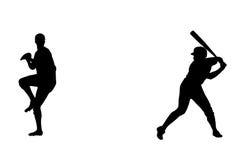 De spelers van het honkbal Royalty-vrije Illustratie