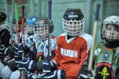 De spelers van het jonge geitjeshockey royalty-vrije stock foto's