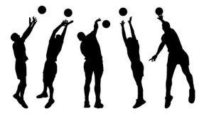 De spelers van het mensenvolleyball Stock Afbeelding