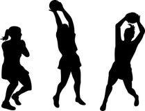 De spelers van het netball silhouetteren Royalty-vrije Stock Afbeelding