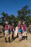 De spelers van het olifantenpolo tijdens olifantenpolo, Nepal stock fotografie