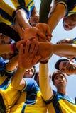 De spelers van het rugby in actie stock foto