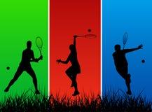 De spelers van het tennis Stock Foto