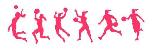 De spelers van het vrouwenbasketbal vector illustratie