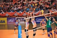 De spelers van het vrouwenvolleyball chaleng Stock Foto's
