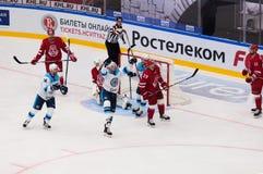 De spelers van Sibir-team verheugen zich van een score royalty-vrije stock foto