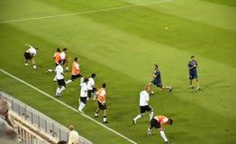 De spelers van Valencia het opwarmen Stock Foto