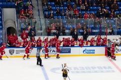 De spelers verheugen zich van een doel op hockeyspel Vityaz versus Severstal op het kampioenschap van Rusland KHL op 16 Oktober,  royalty-vrije stock fotografie
