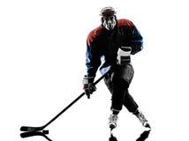 De spelersilhouet van de ijshockeymens Stock Afbeelding