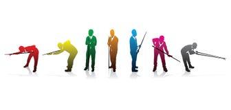 De spelersilhouetten van de snooker Stock Afbeelding