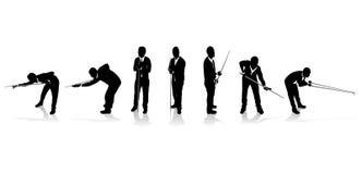 De spelersilhouetten van de snooker Stock Fotografie