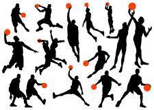 De spelersilhouetten van het basketbal Stock Afbeeldingen