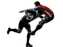 De spelerssilhouet van rugbymensen Royalty-vrije Stock Fotografie