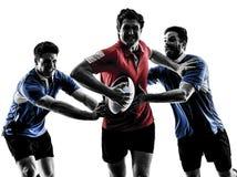 De spelerssilhouet van rugbymensen Royalty-vrije Stock Afbeelding
