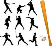 De spelerssilhouetten van het honkbal Stock Foto
