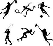 De spelerssilhouetten van sporten Royalty-vrije Stock Foto's