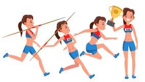 De Spelervector van de atletiek Jonge Vrouw Het concept van de sport Joggingras sportkleding Individuele sport Meisjesatleet vlak Stock Fotografie
