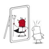 De spiegel en de duivel stock illustratie