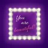 De spiegel met u is mooie inschrijving Vector Malplaatje Stock Afbeeldingen