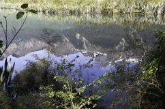 De Spiegelmeren in het Nationale Park van Fiordland Mooi Nieuw Zeeland Stock Afbeeldingen