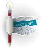 De Spiekpapiertjes van wiskundeformules met potlood Stock Foto