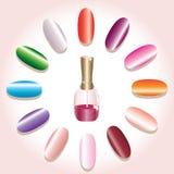 De spijkers en het nagellak van de kleur Royalty-vrije Stock Foto
