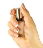 De spijkers van de mooie vrouw met mooie Franse geïsoleerde manicure Stock Foto