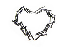 De spijkers van het hart op witte achtergrond Royalty-vrije Stock Afbeelding