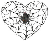 De spin weefde Web van hartvorm Hartsymbool van liefde Gotisch liefdehart Stock Foto