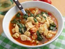 De spinaziesoep van tomatentortellini stock foto