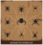 De silhouetten vectorinzameling van spinnen Stock Fotografie
