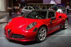 De Spinsportwagen van Alfa Romeo 4C Stock Afbeeldingen
