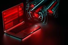 De spionnen proberen om persoonsgegevensconcept te stelen Schadelijke softwareconcept het 3d teruggeven stock illustratie