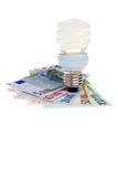 De spiraal van de de besparingsenergie van de macht lightbulb. Stock Foto