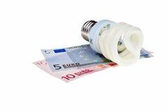 De spiraal van de de besparingsenergie van de macht lightbulb. Royalty-vrije Stock Fotografie