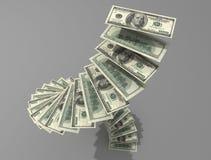 De spiraal van de dollar Stock Afbeelding