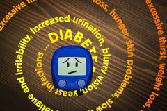 De spiraal van diabetessymptomen stock afbeelding